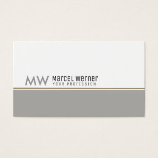 pro corporate classy white & gray monogrammed business card