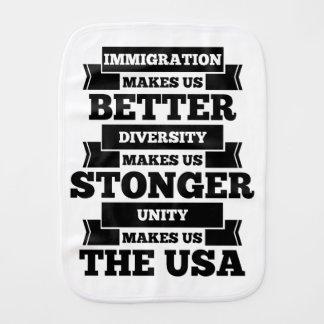 Pro immigration America Burp Cloth