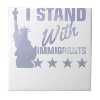 Pro immigration statue of liberty shirt ceramic tile