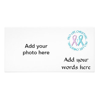 Pro-Life Christian w/Cross & Pink/Blue Ribbons Picture Card