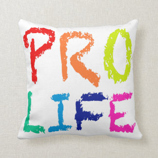 """""""PRO LIFE"""" (IN RAINBOW CRAYONS) THROW PILLOW"""