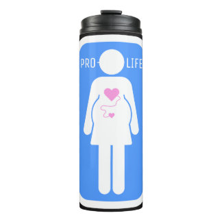 Pro Life Pregnant Woman Sign Icon Thermal Tumbler