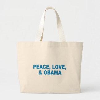 Pro-Obama - PEACE, LOVE, AND OBAMA Tote Bags