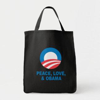 Pro-Obama - PEACE, LOVE, AND OBAMA Tote Bag