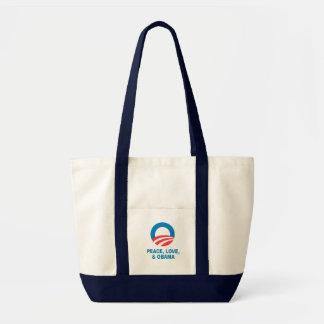 Pro-Obama - PEACE, LOVE, AND OBAMA Impulse Tote Bag