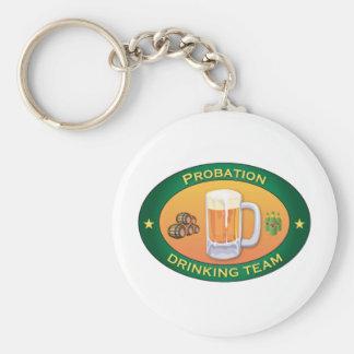 Probation Drinking Team Basic Round Button Key Ring