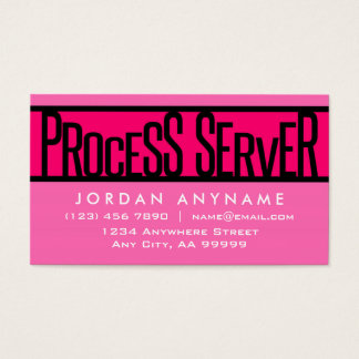 Process Server Hot Pink Business Card