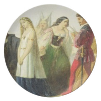 Procession of characters from Shakespeare (oil on Party Plates