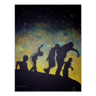 Procession to Breakfast Zombie Silhouette poster