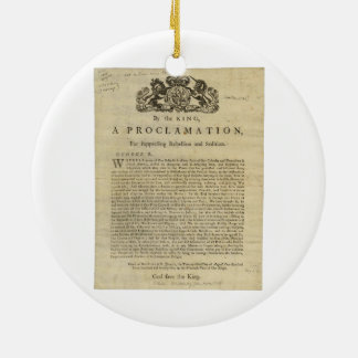 Proclamation by the King for Suppressing Rebellion Ceramic Ornament