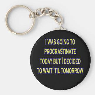procrastinate irony key ring
