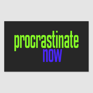 Procrastinate Now Rectangular Sticker