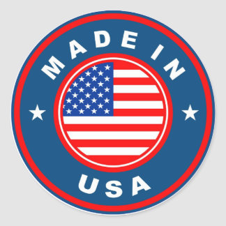 product country flag label made in america usa round sticker