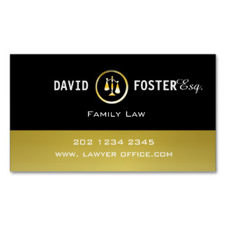 Professional Attorney Law Office Gold Justice Logo Magnetic Business Card
