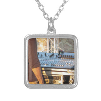 Professional audio mixing console silver plated necklace