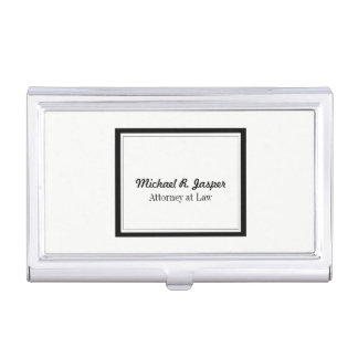 Professional Black and White Lawyer Business Card Holder
