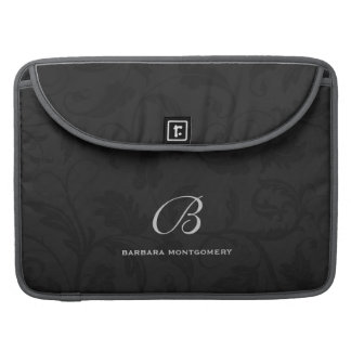 Professional Black Damask with Monogram Sleeve For MacBook Pro