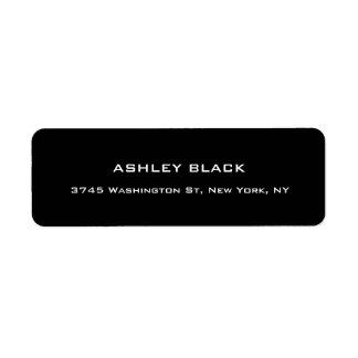 Professional Black Plain Elegant Modern Unique Return Address Label
