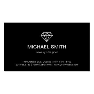 Professional Black White Modern Diamond Logo Pack Of Standard Business Cards