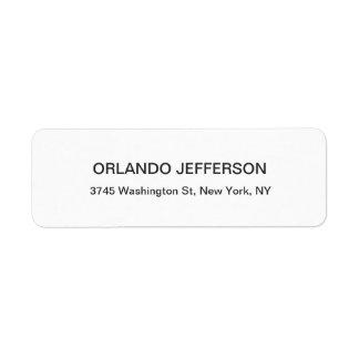 Professional Black & White Modern Plain Elegant Return Address Label