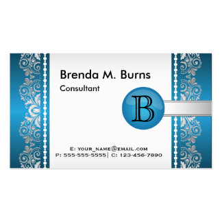 Professional Blue and Silver Lace Design Pack Of Standard Business Cards