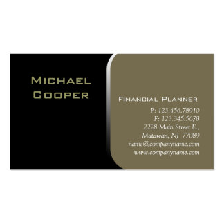 Professional Business Card Financial Planner Khaki