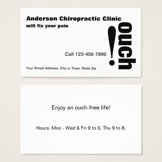 Professional Chiropractic for Life without Ouch Business Card