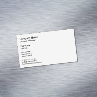 Professional Classic | Plain White Magnetic Business Card