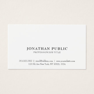 Professional Classic Sleek Elegant White Plain Business Card