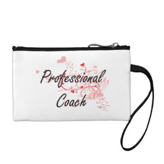 Professional Coach Artistic Job Design with Hearts Coin Purse