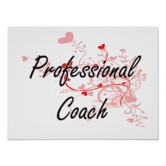 Professional Coach Artistic Job Design with Hearts Poster