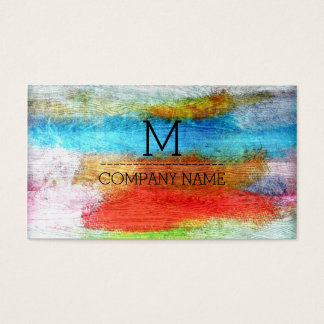 Professional Colourful Modern Wood Monogram #23 Business Card