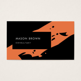 Professional Consultant Modern Black Orange Business Card