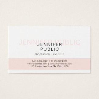 Professional Cool Artistic Design Pink White Plain Business Card
