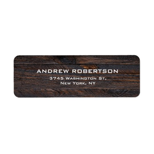 Professional Dark Brown Wood Plain Elegant Return Address Label