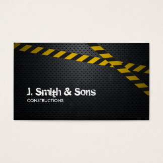 Professional Dark Metal Construction Business Card
