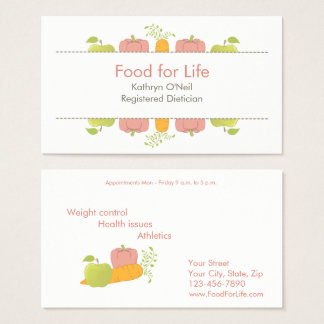 Professional Dietician or Nutritionist Business Card