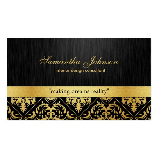 Professional Elegant Black and Gold Damask Business Card Templates