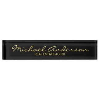 Professional Elegant Black and Gold Nameplate