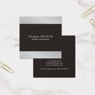 Professional Elegant Black Faux Silver Consultant Square Business Card