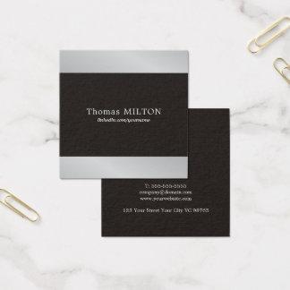 Professional Elegant Black Faux Silver Consultant Square Business Card