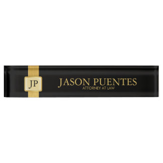 Professional Elegant Black & Gold with Monogram Name Plate