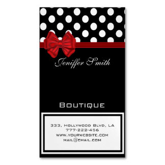 Professional elegant chic polka dots red bow Magnetic business card