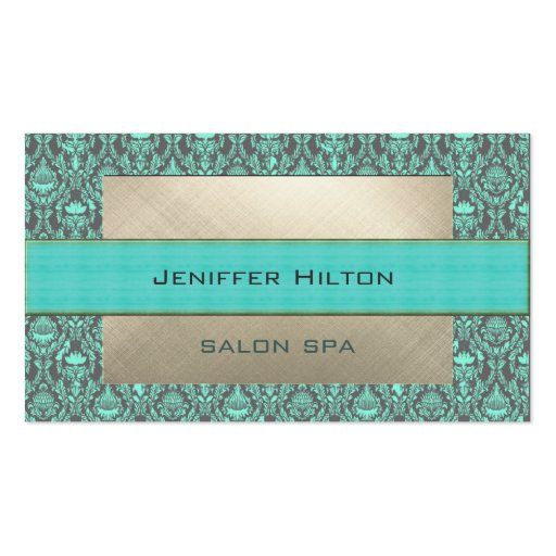 Professional elegant contemporary turquoise damask business cards
