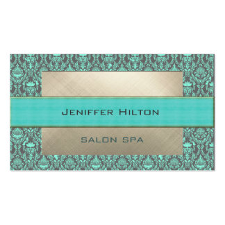 Professional elegant contemporary turquoise damask pack of standard business cards