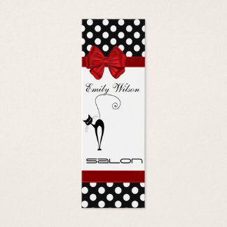 Professional elegant luxury black cat polka dots mini business card
