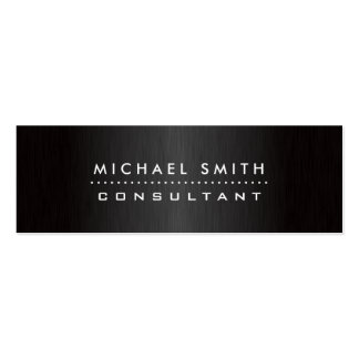 Professional Elegant Modern Black  Brushed Metal Pack Of Skinny Business Cards