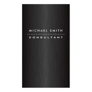 Professional Elegant Modern Black  Brushed Metal Pack Of Standard Business Cards