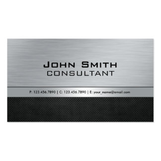 Professional Elegant Modern Silver Black Metal Pack Of Standard Business Cards