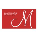 Professional Elegant Monogram Makeup Artist Red Pack Of Standard Business Cards